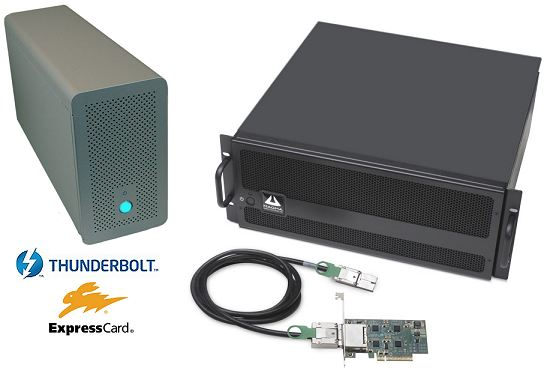Three and seven slot PCie Docking Stations. Thunderbolt, ExpressCard and PCI-Express interface options
