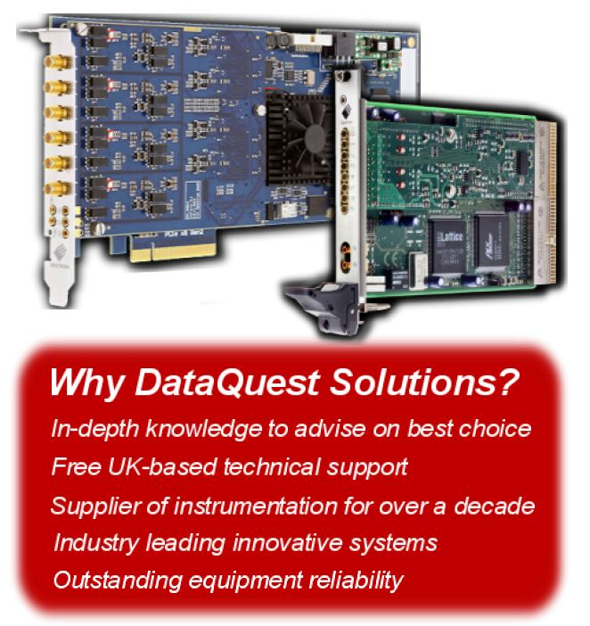 High speed instrumentation cards for the PC and industrial chassis. Signal capture, generation and digital I/O versions