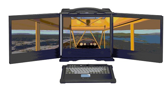 Powerful portable PC with three stowable screens